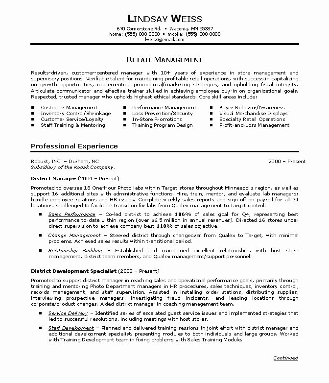 Retail Store Manager Resume Unique Retail Manager Resume Objective