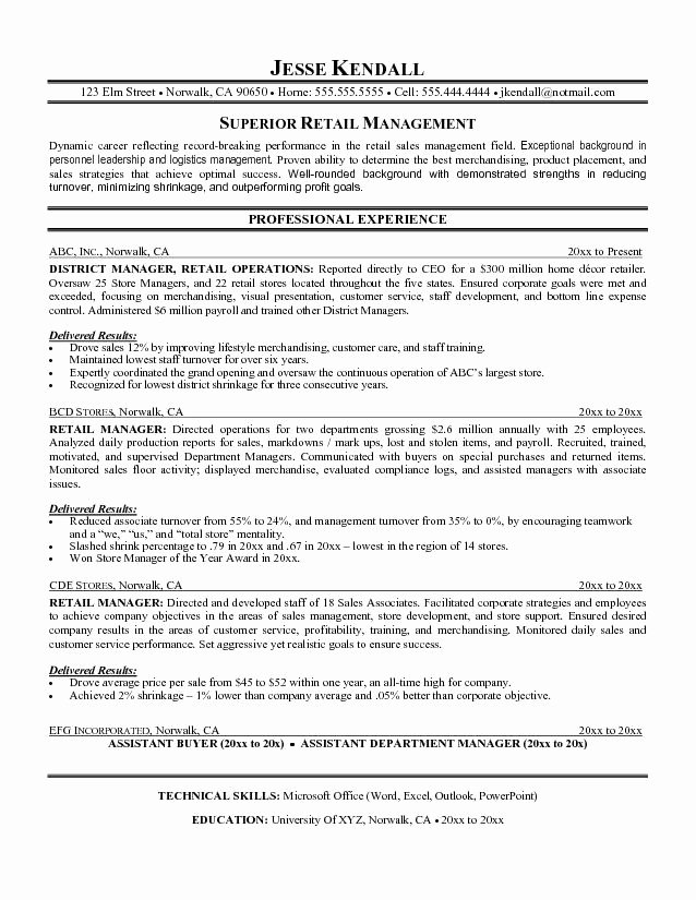 Retail Store Manager Resumes Awesome Retail Manager Resume Objective