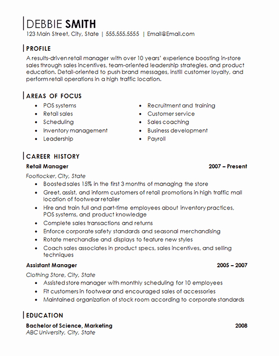 Retail Store Manager Resumes Best Of Retail Store Manager Resume Example Franchise Management