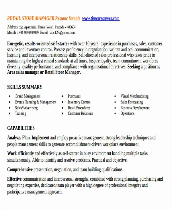 Retail Store Manager Resumes Elegant 38 Manager Resume Templates Pdf Doc