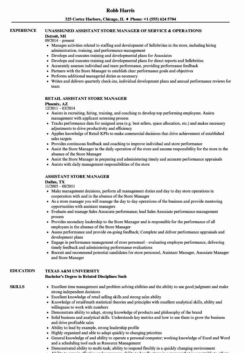 Retail Store Manager Resumes Elegant assistant Store Manager Resume Samples