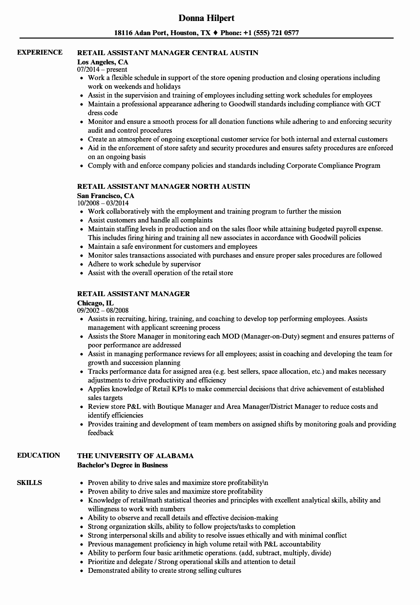 Retail Store Manager Resumes Elegant Retail assistant Manager Resume Samples