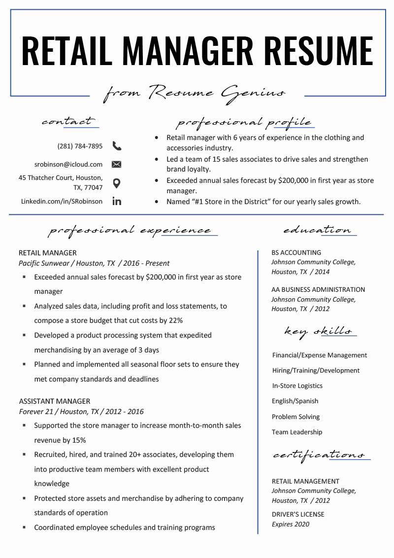Retail Store Manager Resumes Fresh Retail Manager Resume Example & Writing Tips