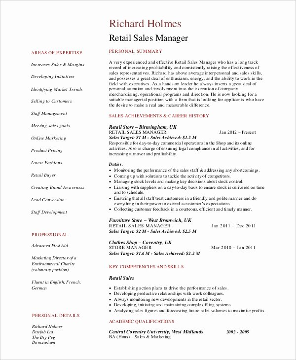 Retail Store Manager Resumes New Furniture Store Manager Resume Samples