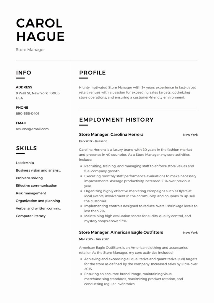 Retail Store Manager Resumes Unique Store Manager Resume Guide & 12 Resume Samples Pdf