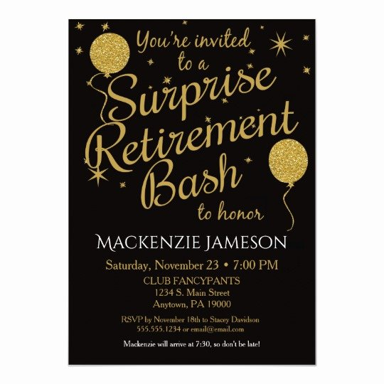Retirement Party Invitations Template Fresh Surprise Retirement Party Invitation Gold Balloons