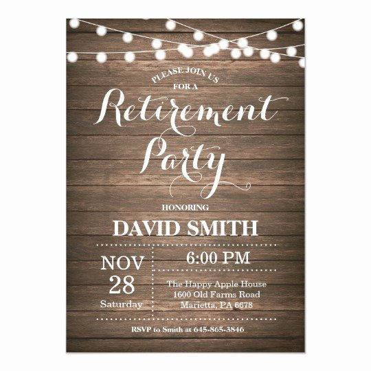 Retirement Party Invitations Template Inspirational Rustic Retirement Party Invitation Card