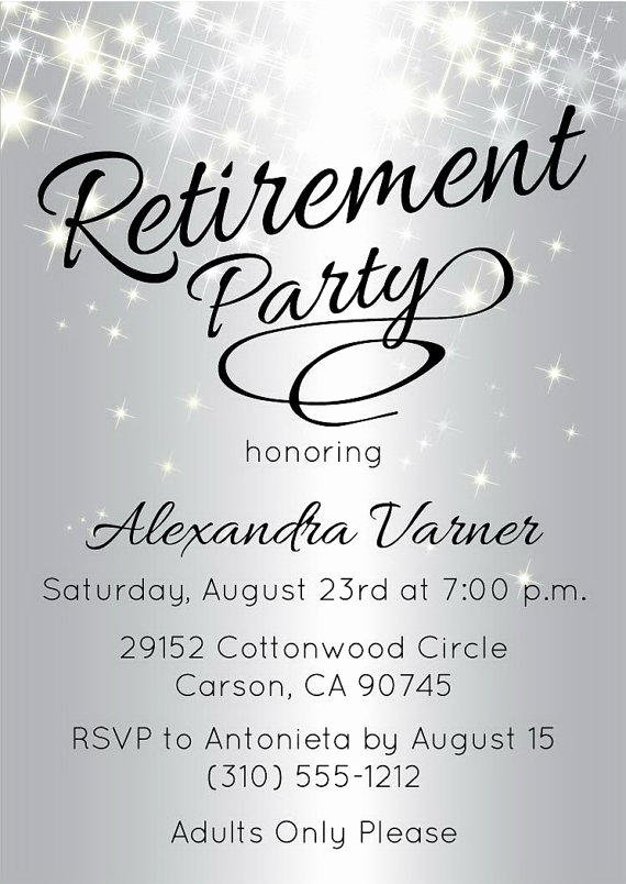 Retirement Party Invitations Template Lovely Silver Retirement Party Invitation From Announceitfavors On