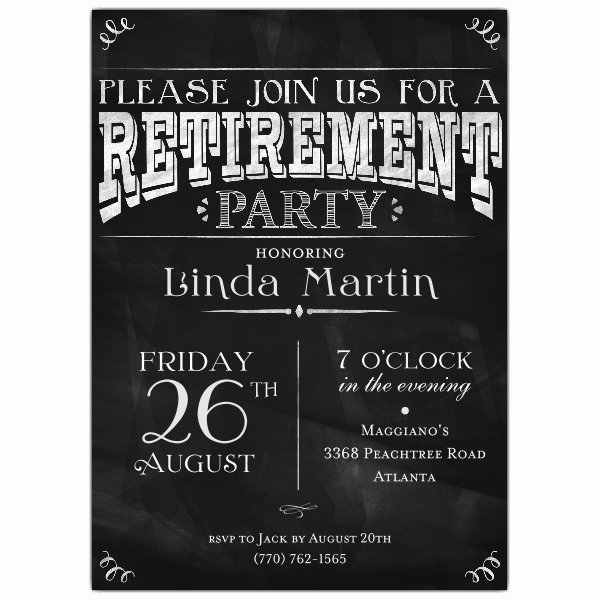 Retirement Party Invitations Template New Chalkboard Black Retirement Party Invitations