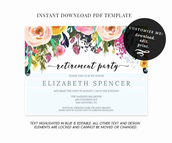 Retirement Party Invitations Template New Editable Floral Retirement Party Invitation Template