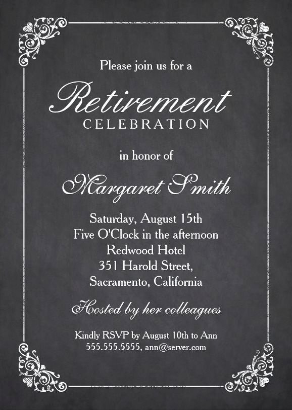 Retirement Party Invitations Template Unique Elegant Chalkboard Retirement Party Invitation Template