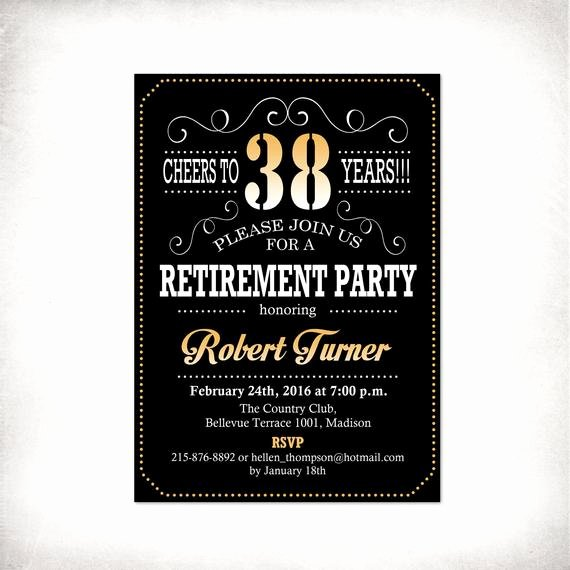 Retirement Party Invitations Templates Best Of Retirement Party Invitation Black Gold Digital Printable