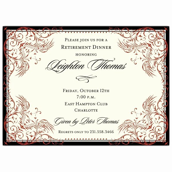 Retirement Party Invitations Templates Lovely Black and Red Elegant Border Retirement Invitations