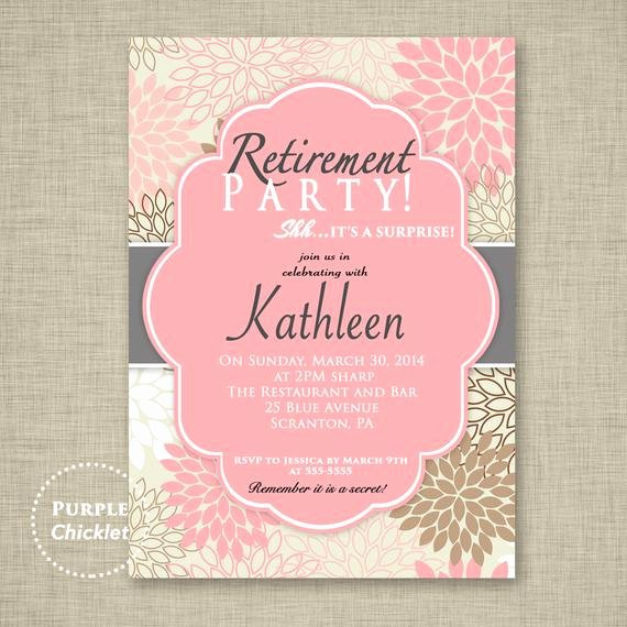 Retirement Party Invitations Templates Lovely Surprise Retirement Party Invitation Pink Adult Surprise Party