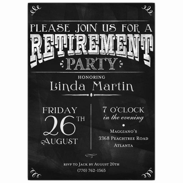 Retirement Party Invitations Templates Unique Chalkboard Black Retirement Party Invitations