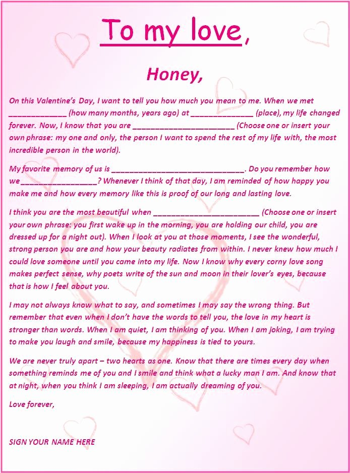 Romantic Love Letters for Him Best Of Romantic Letter Template