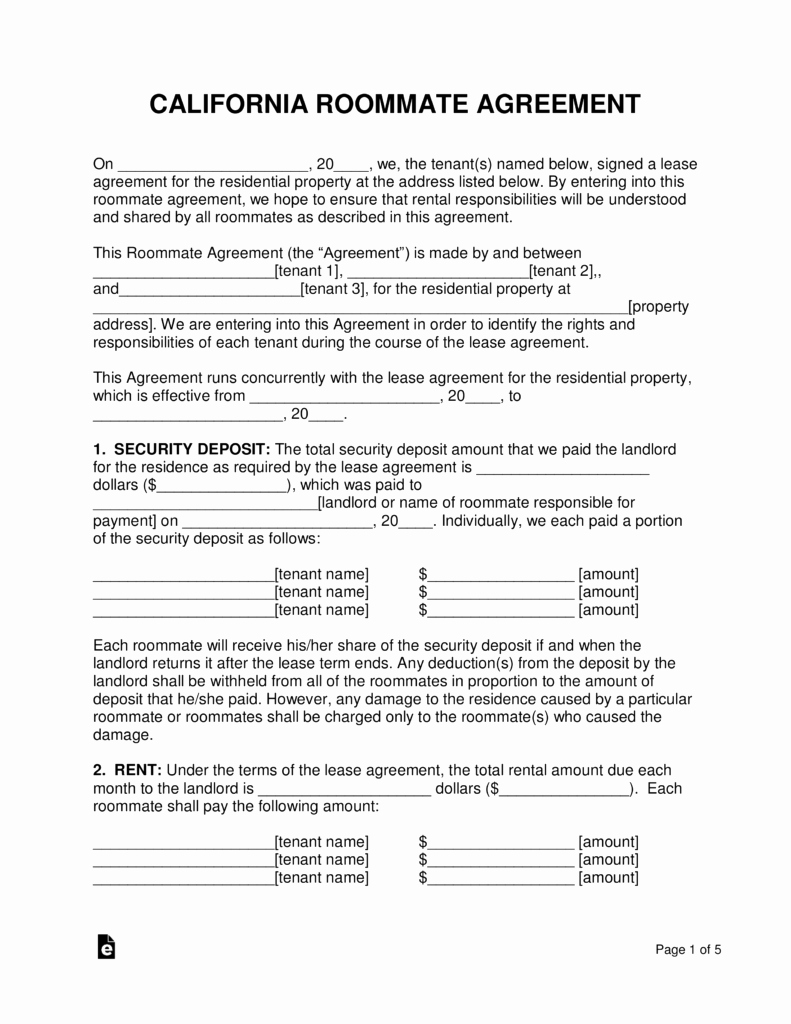 Room Rental Agreement Pdf Awesome Free California Roommate Room Rental Agreement Pdf