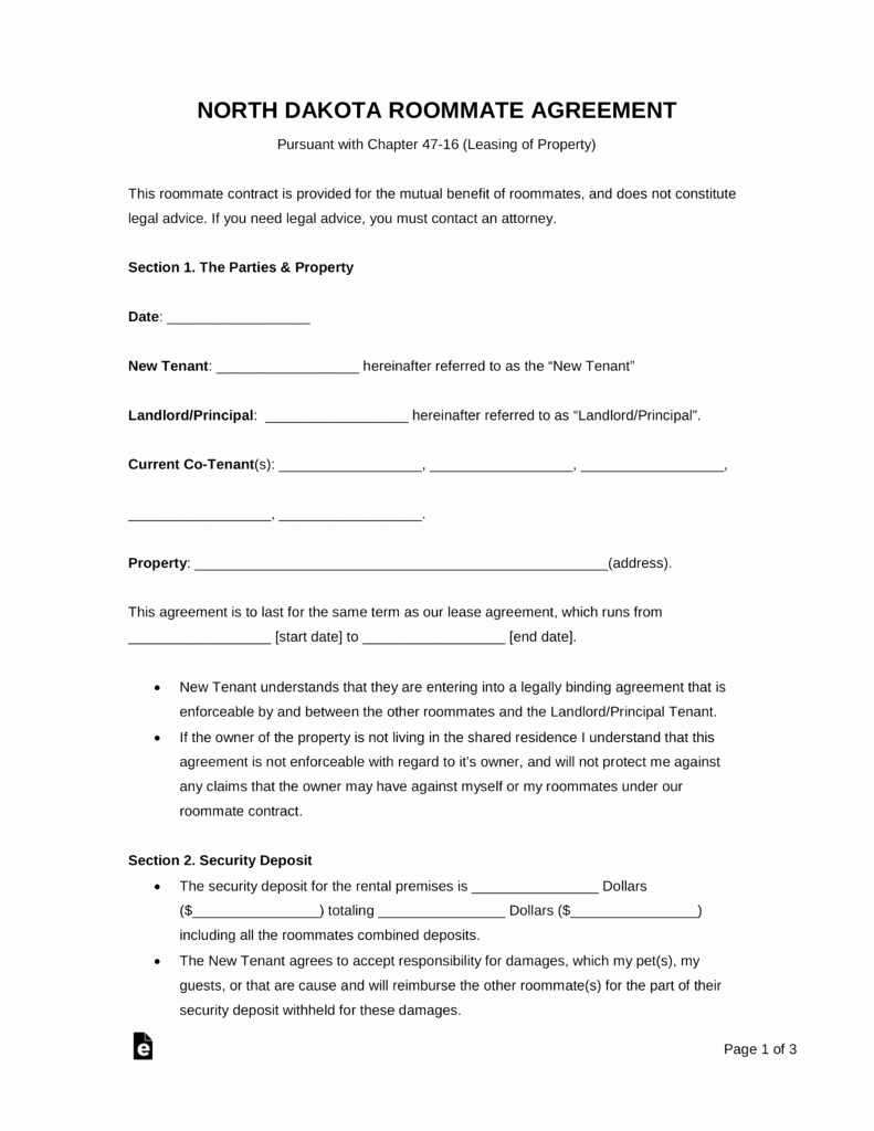 Room Rental Agreement Pdf Awesome Free north Dakota Room Rental Agreement form Pdf