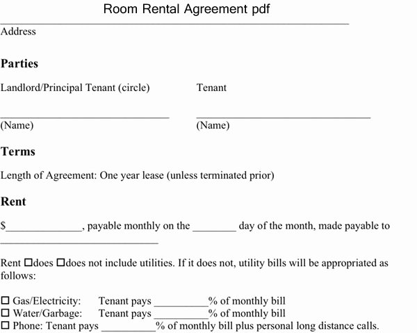Room Rental Agreement Pdf Best Of Room Rental Agreement Pdf Excel About