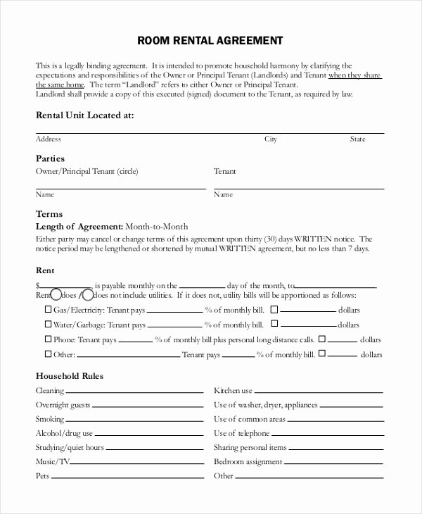 Room Rental Agreement Pdf Elegant Free 10 Sample Room Rental Agreement forms In Pdf