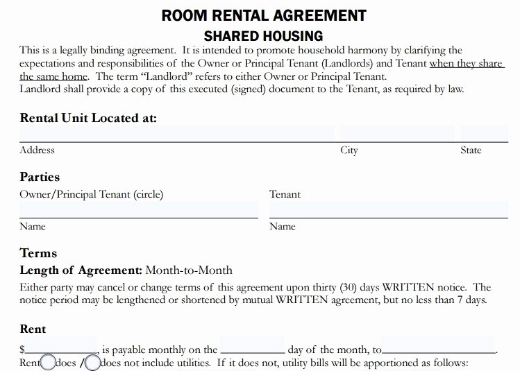 Room Rental Agreement Pdf Fresh 4 Room Rent Agreement format Templates Pdf Word