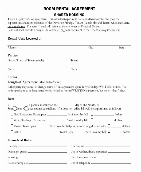 Room Rental Agreement Pdf Inspirational 14 Room Rental Agreement Templates Free Downloadable