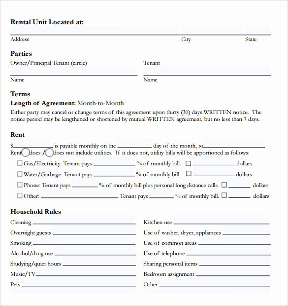 Room Rental Agreement Pdf Inspirational Room Rental Agreement 18 Download Free Documents In Pdf