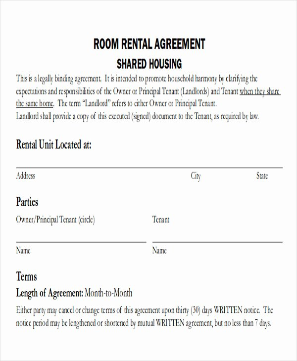 Room Rental Agreement Pdf Unique 8 Room Rental Agreement form Sample Examples In Word Pdf