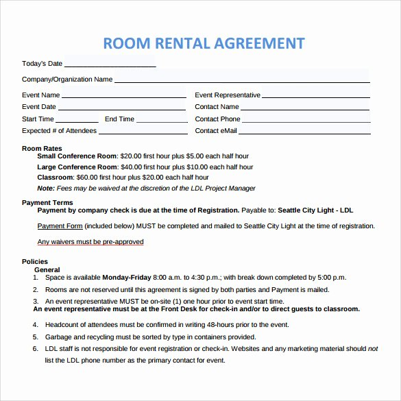 Room Rental Agreement Pdf Unique Sample Room Rental Agreement – 8 Free Samples Examples