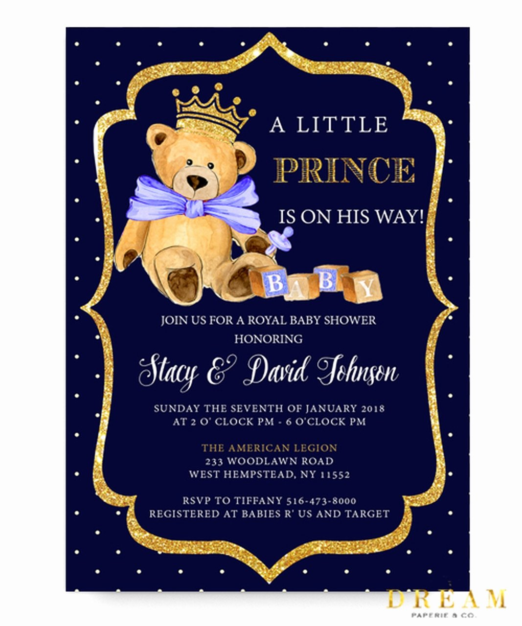 Royal Baby Shower Invitations Awesome Little Bear Prince Baby Shower Invitation Royal Baby Bear