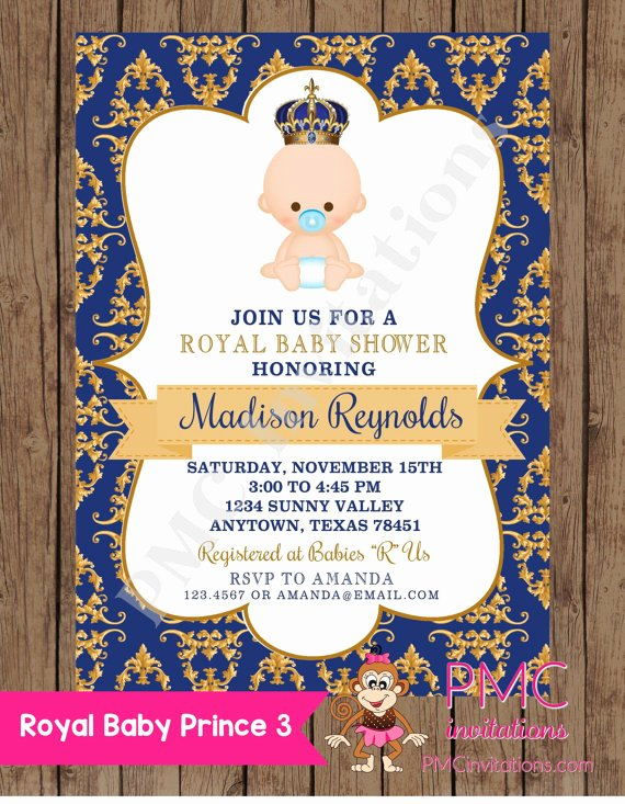 Royal Baby Shower Invitations Beautiful Custom Printed Royal Prince Baby Shower Invitations 1 00
