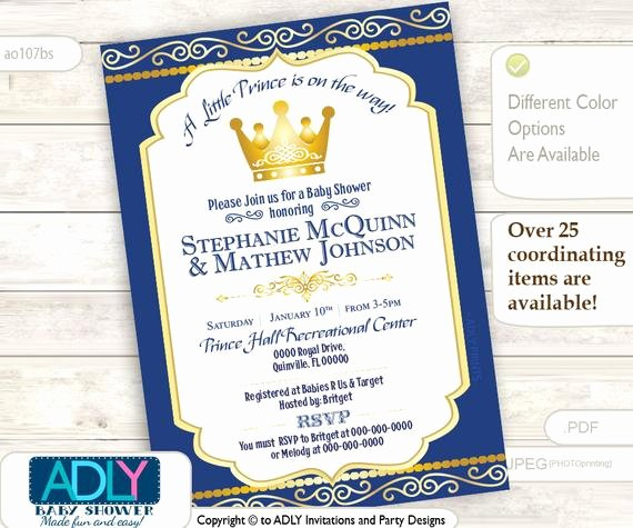 Royal Baby Shower Invitations Beautiful Items Similar to Royal Blue Gold Prince or King Baby