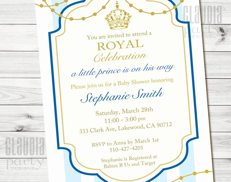 Royal Baby Shower Invitations Beautiful Little Prince Baby Shower Invitation Prince 1st Birthday
