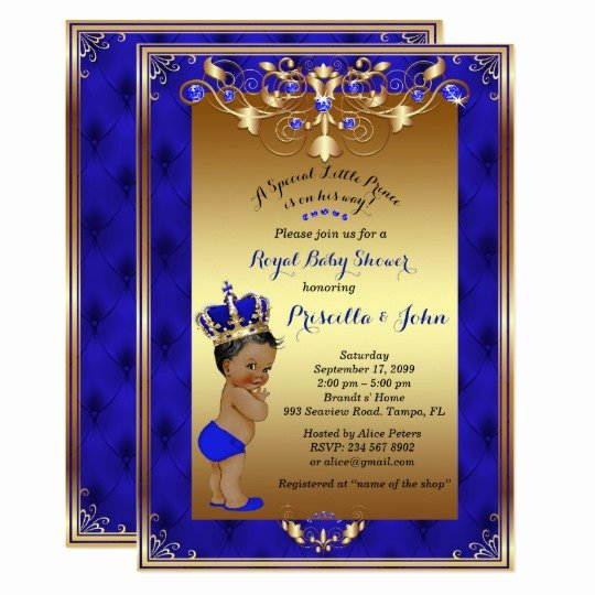 Royal Baby Shower Invitations Beautiful Little Prince Baby Shower Invitation Royal Blue Card