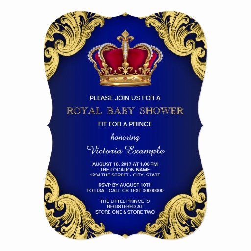 Royal Baby Shower Invitations Beautiful Royal Fancy Prince Baby Shower 5x7 Paper Invitation Card