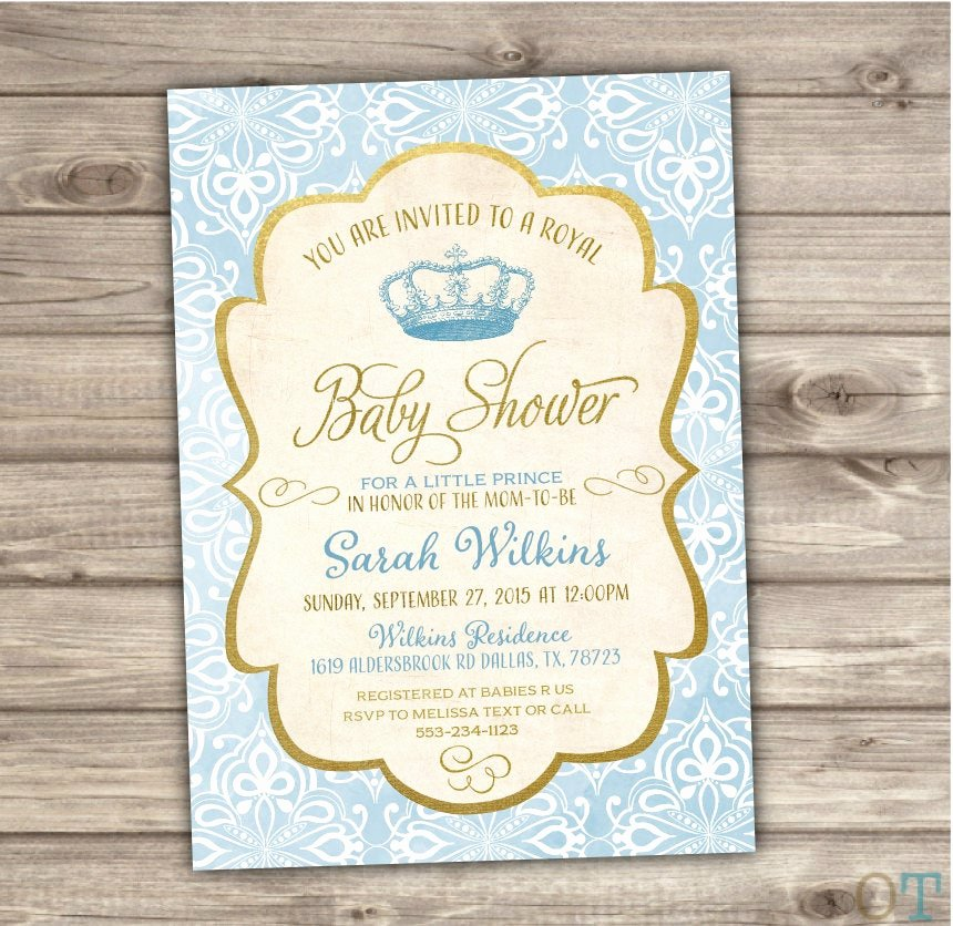 Royal Baby Shower Invitations Best Of Royal Baby Shower Invitations Prince Blue and Gold Vintage