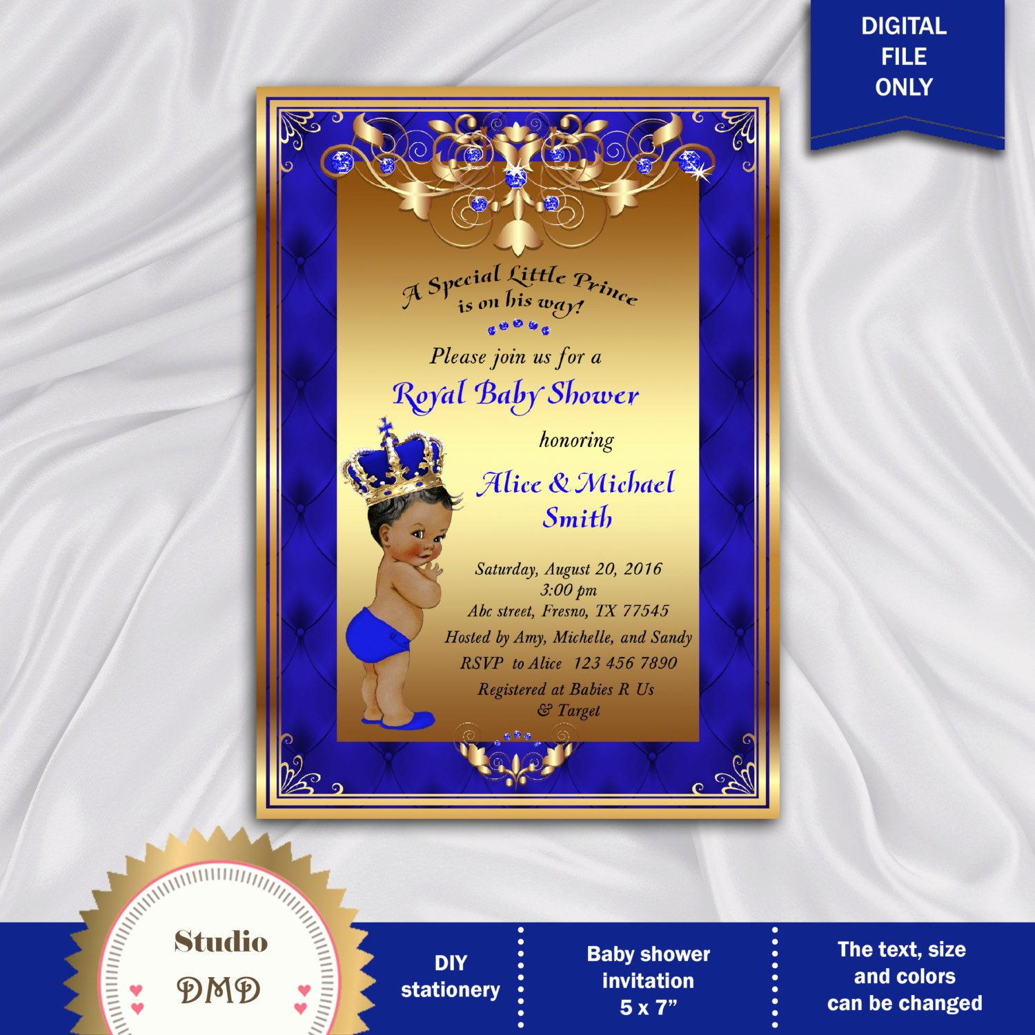 Royal Baby Shower Invitations Elegant Prince Baby Shower Invitation Little Prince Royal Baby Boy
