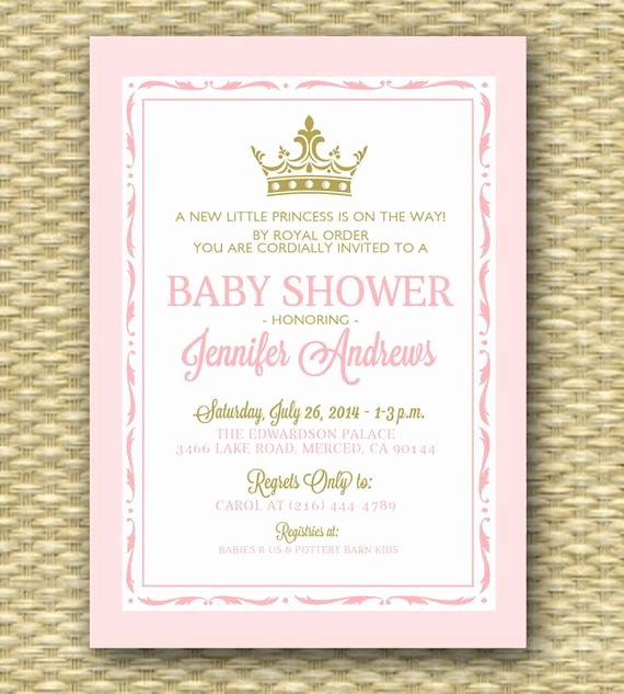 Royal Baby Shower Invitations Elegant Princess Baby Shower Invitation Pink and Gold Royal Baby