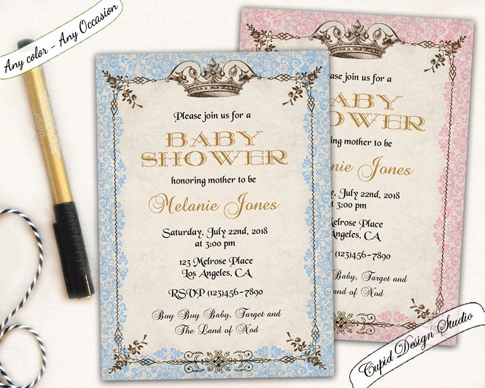 Royal Baby Shower Invitations Elegant Royal Baby Shower Invitation Prince or Princess Baby