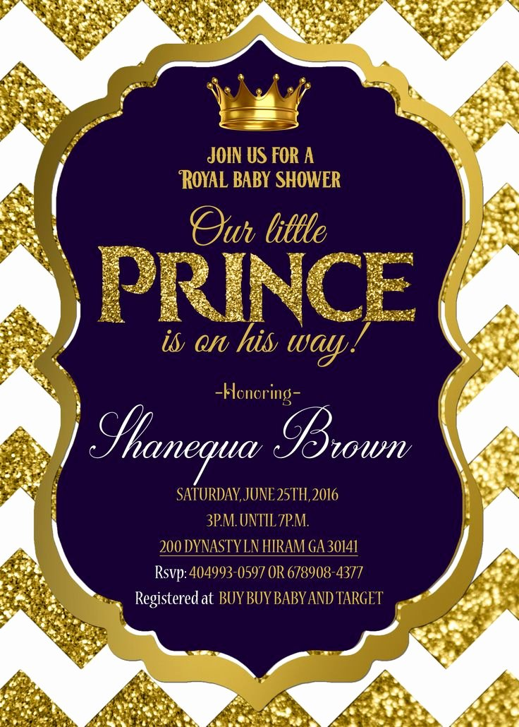 Royal Baby Shower Invitations Elegant Royal Baby Shower Invitation Royal Prince Gold
