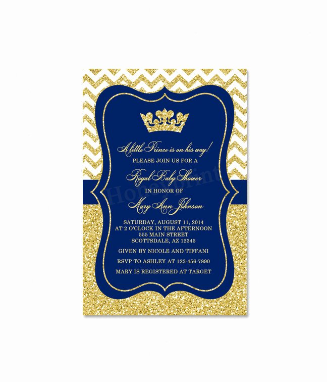 Royal Baby Shower Invitations Fresh Prince Baby Shower Invitation Royal Blue Gold Baby Shower