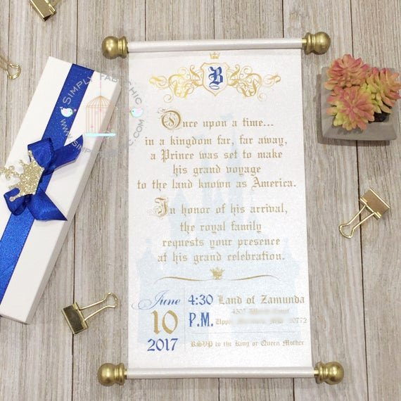 Royal Baby Shower Invitations Fresh Royal Prince Baby Shower Scroll Wedding Invitation Vow