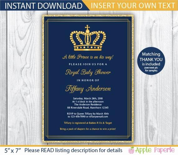 Royal Baby Shower Invitations Inspirational Baby Shower Invitation Boy Royal Invitation Royal Baby