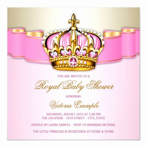 Royal Baby Shower Invitations Inspirational Girls Pink Gold Royal Baby Shower Invitation