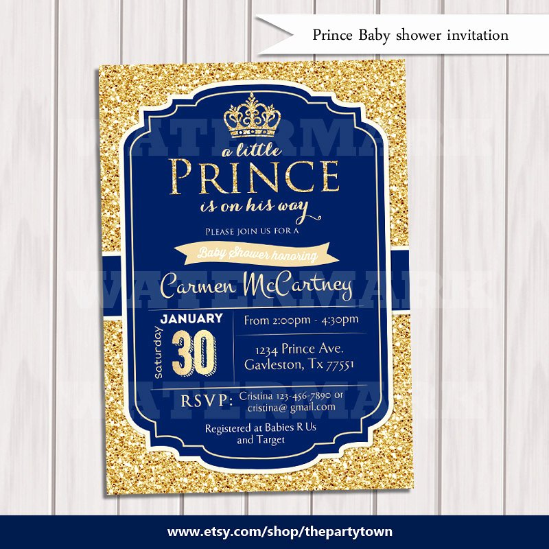 Royal Baby Shower Invitations Lovely Prince Baby Shower Invitation Royal Blue Gold Baby Shower