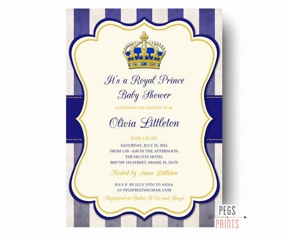Royal Baby Shower Invitations Luxury Royal Prince Baby Shower Invitations Printable Prince