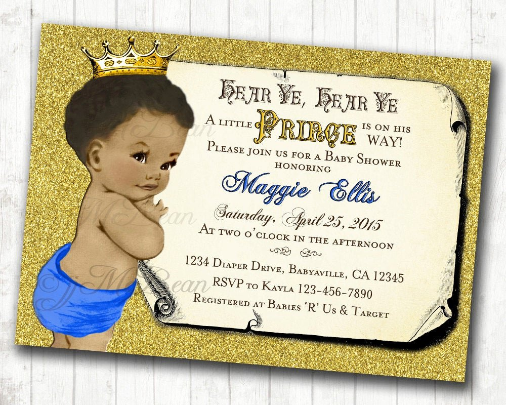 Royal Baby Shower Invitations New Prince Baby Shower Invitation African American Baby Shower