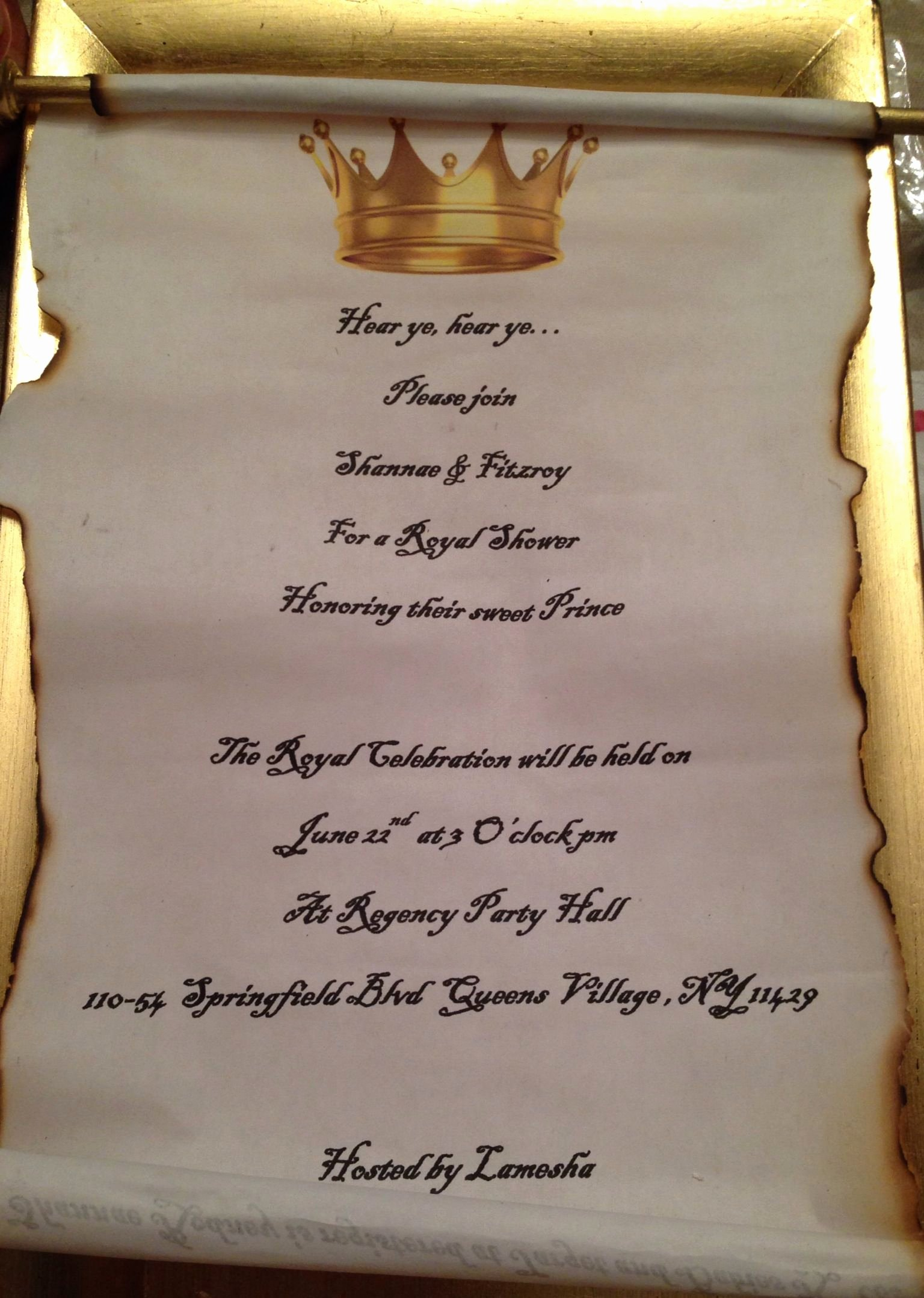 Royal Baby Shower Invitations Unique Royal Baby Shower Scroll Gold and Blue Invitations