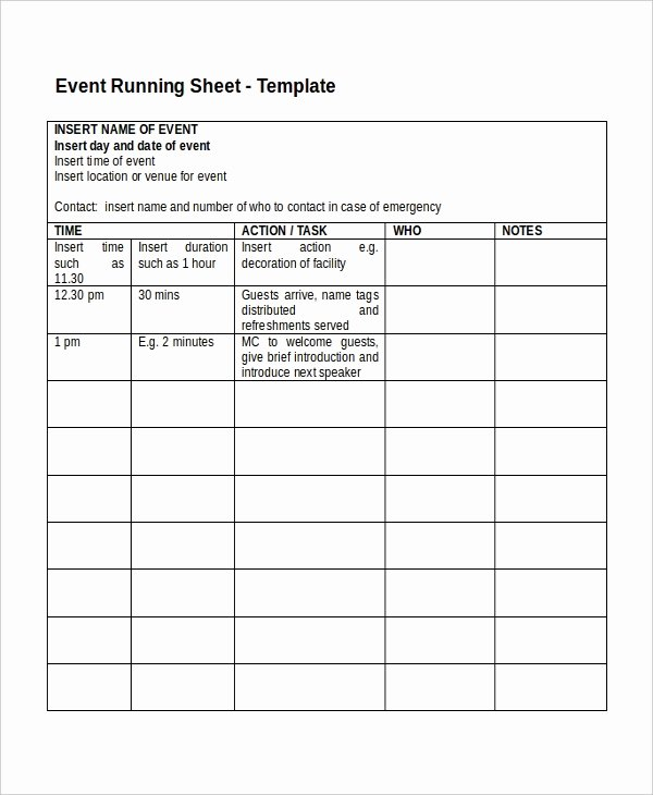 Run Of Show Template Elegant 13 Run Sheet Templates Pdf Doc