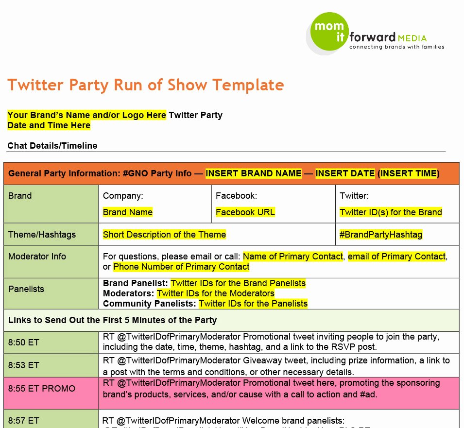 Run Of Show Template Inspirational tools Mom It forward